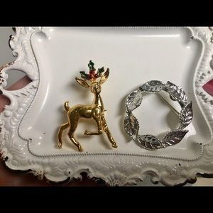 2 Vintage Gerry's Holiday Brooches